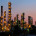 D6T4J0 USA, California, El Segundo, Portion of Chevron's El Segundo refineries, after sunset