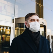 business man wearing mask